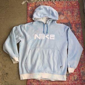 Early 2000s Nike light blue tiedye pullover hoodie